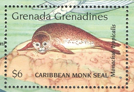 Caribbean monk seal on a stamp of Grenada