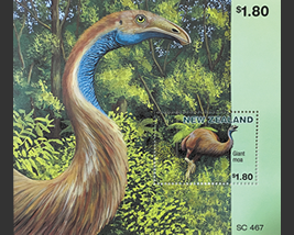 Giant moa which is designed to NZ stamp
