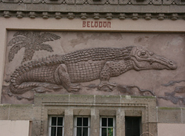 Sculpture of Belodon that decorates the walls of the Berlin Zoo/Aquarium